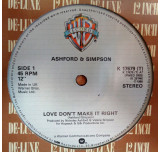 Love Don't Make It Right / Bourgie Bourgie - After years of playing every copy at last one taht does not speed up half way through. I don't expect this will last long before it sells. I have done a full soundfile of Bourgie Bourgie so you can hear for you